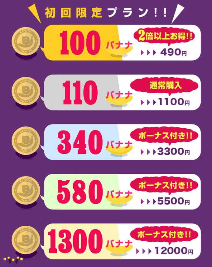 恋バナナの料金1